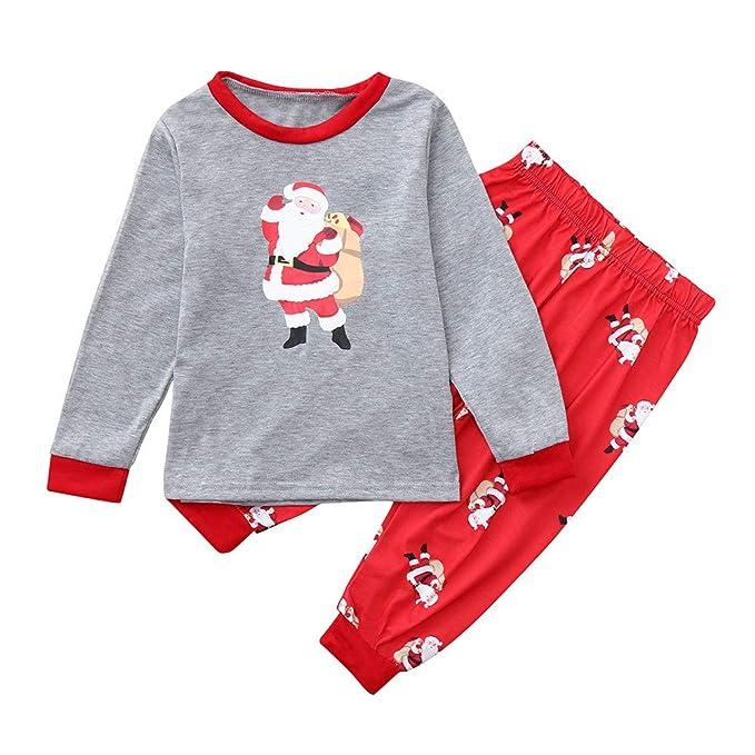 FRAUIT Familia Papá Noel Camiseta Gris Rojos Familia Pijamas Ropa de Dormir Trajes de Navidad Familiares Ropa de Dormir Traje a Juego de Navidad Mujer ...