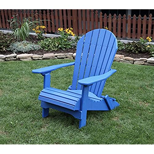 BLUE POLY LUMBER Folding Adirondack Chair With Rolled Seating Heavy Duty  EVERLASTING Lifetime PolyTuf HDPE   MADE IN USA   AMISH CRAFTED