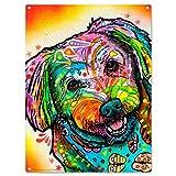 Maltese Smile Dog Dean Russo Metal Sign Daisy Pop Art 12 x 16