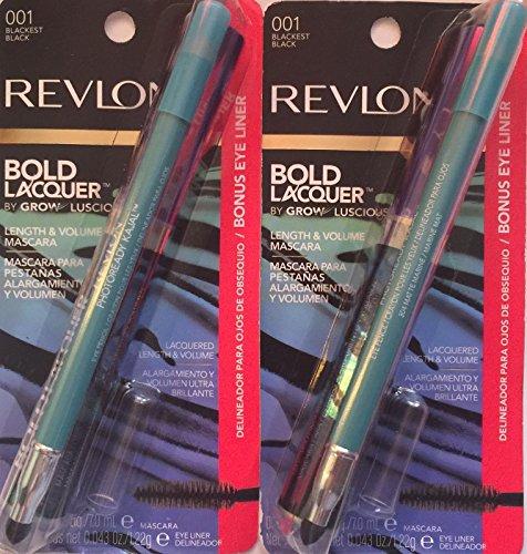 001 Healthy Matte - Revlon Bold Lacquer Mascara 001 Blackest Black with Bonus Kajal Eyeliner in Matte Marine, (Pack of 2)