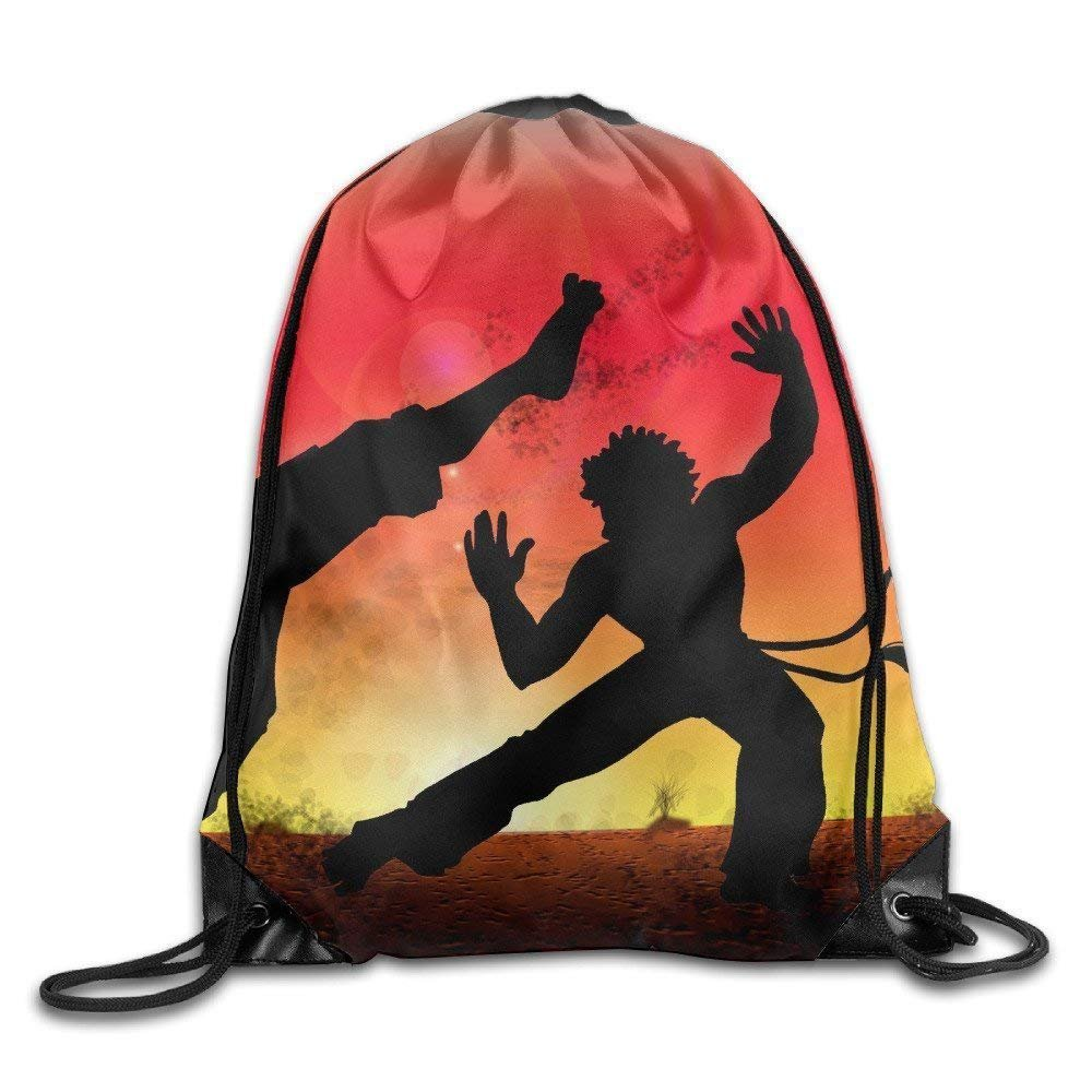 Icndpshorts Unisex Capoeira Leather Reinforced Corners Water Resistant Double Shoulder Swimming Team Issue Knapsack Sack Drawstring Bags Sackpack Use