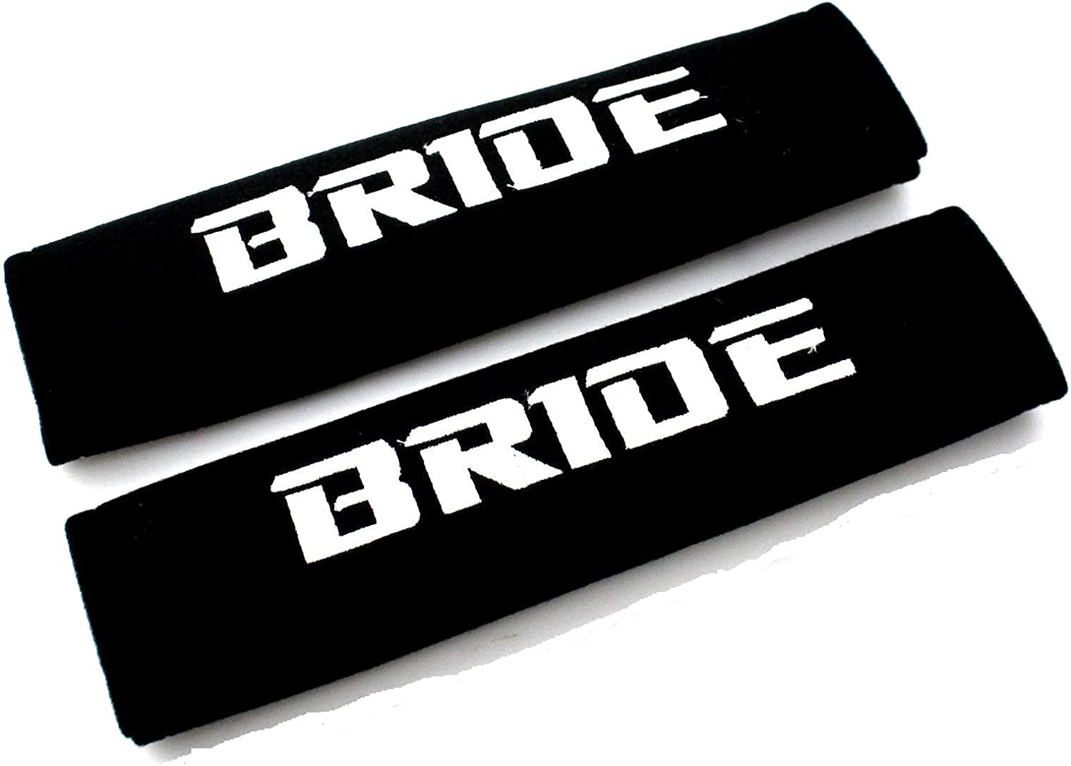 NEW Seat Belt Cover Shoulder Pads Pairs with Orange Embroidery Bride Racing Logo