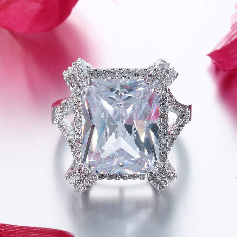 Bigood Bague Femme Cristal Zircone Cubique Bijoux Fantaisie Fian/çailles Mariage 925 Argent