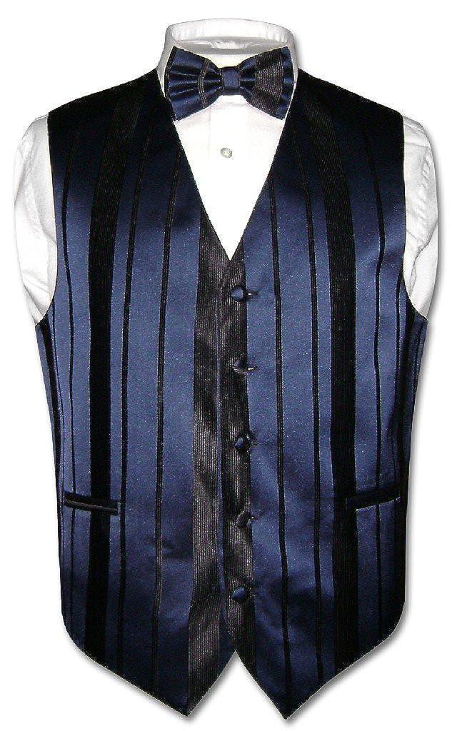 Mens Dress Vest /& Bowtie Navy Blue Color Woven Striped Design Bow Tie Set