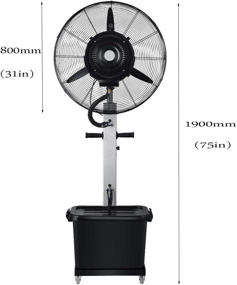 Ventilador de enfriamiento por aspersión industrial Agregue hielo y agua Ventilador de pedestal oscilante de atomización al aire libre de alta potencia 3 velocidades 10 horas Volumen 42 litros Tanqu: Amazon.es: Hogar