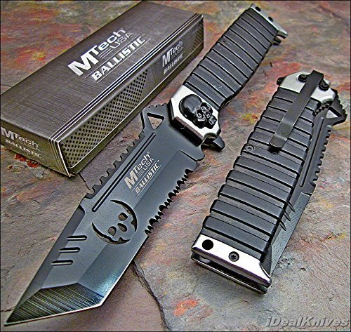 - MTECH Ballistic SILVER SAWBACK Tanto Skull Spring Assisted Opening Knife NEW!!