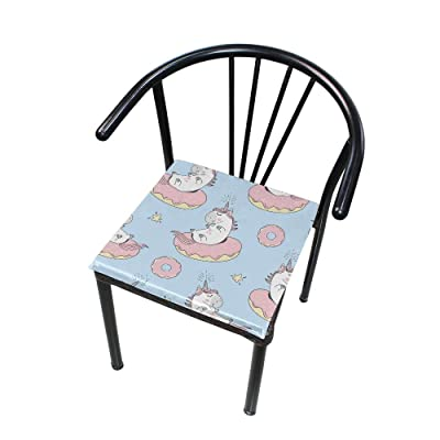 Bardic FICOO Home Patio Chair Cushion Cute Unicorn Donuts Square Cushion Non-Slip Memory Foam Outdoor Seat Cushion, 16x16 Inch: Home & Kitchen