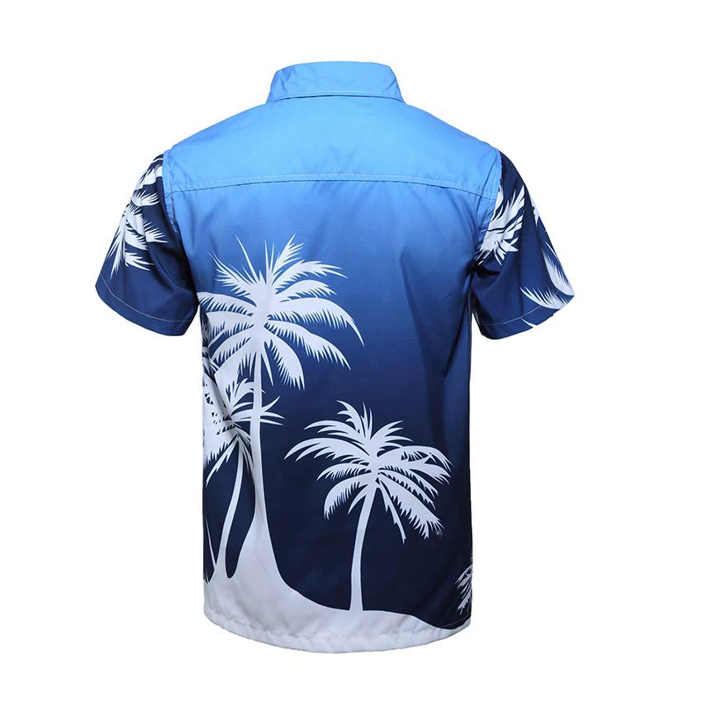 Dersimio Mens Beach Hawaiian Shirt Palm Tree Holiday Tropical Summer Short Sleeve Shirt Men Clothing Casual Loose Shirts Orange-L