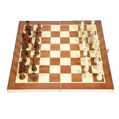YC electronics Juego de ajedrez Internacional de Madera Plegable ...