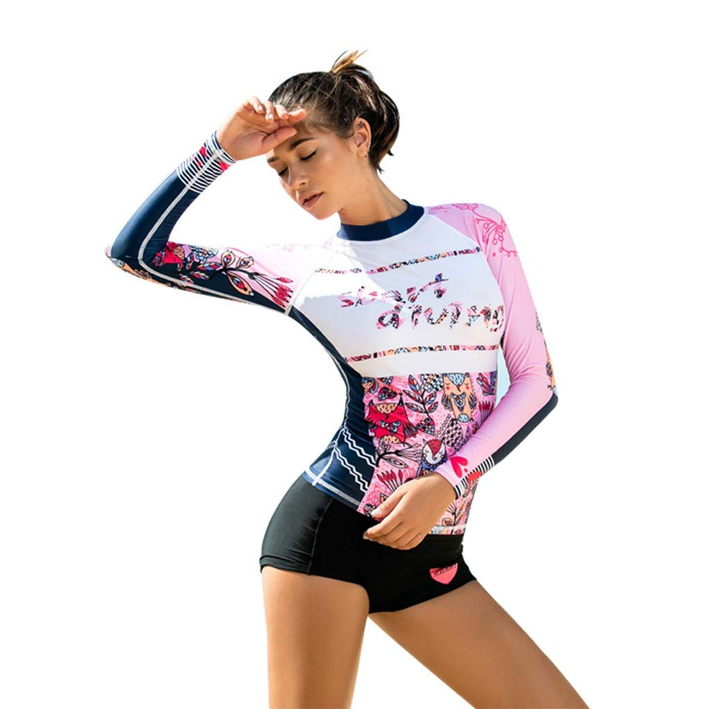 WoCoo Women Surfing Suit Rash Guard Long Sleeve UV Protection Cartoon Printed Swimsuit High Waist Diving Wetsuits(Multicolor,Small) by WoCoo