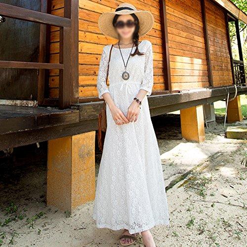 Dress Weiß langen Seaside Spitzenkleid weißes Sommer Rock Kleider Böhmen Beach Frau q1gSAp