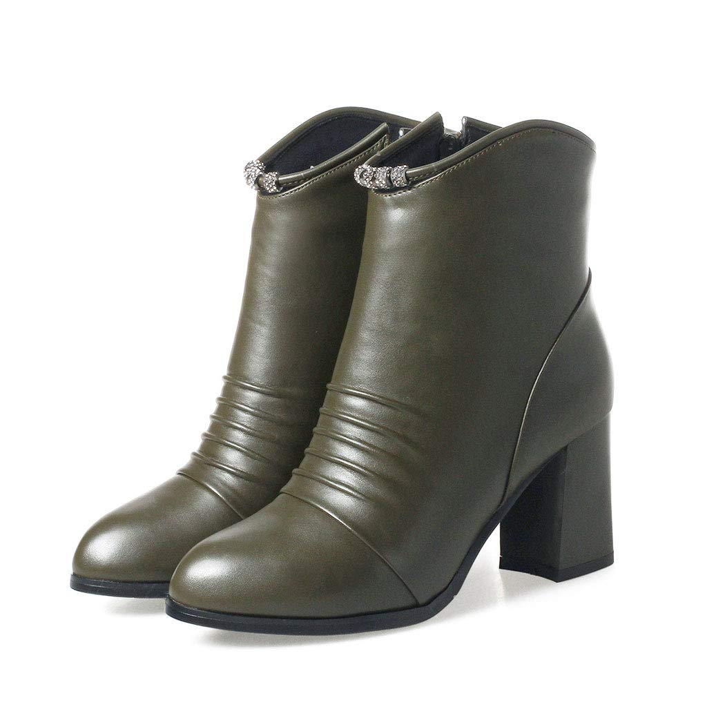 Green Fashion Ankle Boots, High Heels Thick with Low Tube Martin Boots Round Head Side Zipper Short Boots Waterproof Platform PU Women's Non-Slip Warm shoes