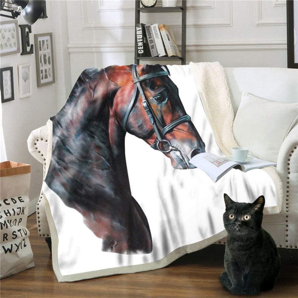 GIERTTR Manta con patrón de caballo de degradado negro, manta con estampado de dibujos animados en 3D, para niños y adultos, manta de sofá, súper suave, 150 cm x 200 cm