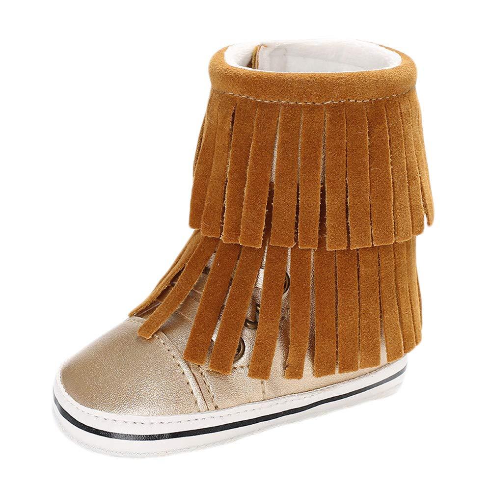 NUWFOR Infant Newborn Baby Girls Cashmere Tassels Winter Boots Prewalker Warm Shoes(Khaki,6~12 Month)