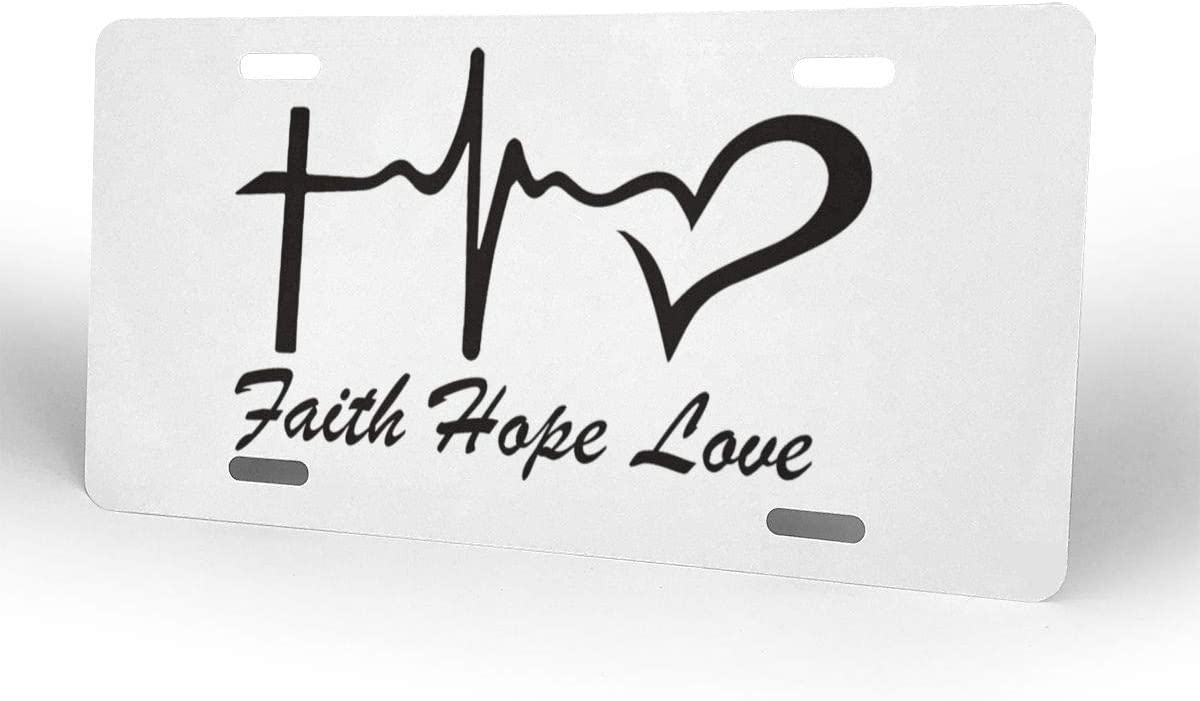 4 Holes Ja Yhou dontcy Faith Hope Love Decorative Car Front License Plate,Vanity Tag,Metal Car Plate,Aluminum Novelty License Plate,6 X 12 Inch