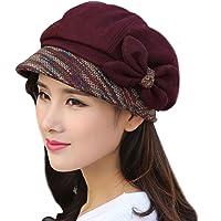 Gorra cálida de punto, estilo vintage, para invierno, con flor y visera de LerBen®
