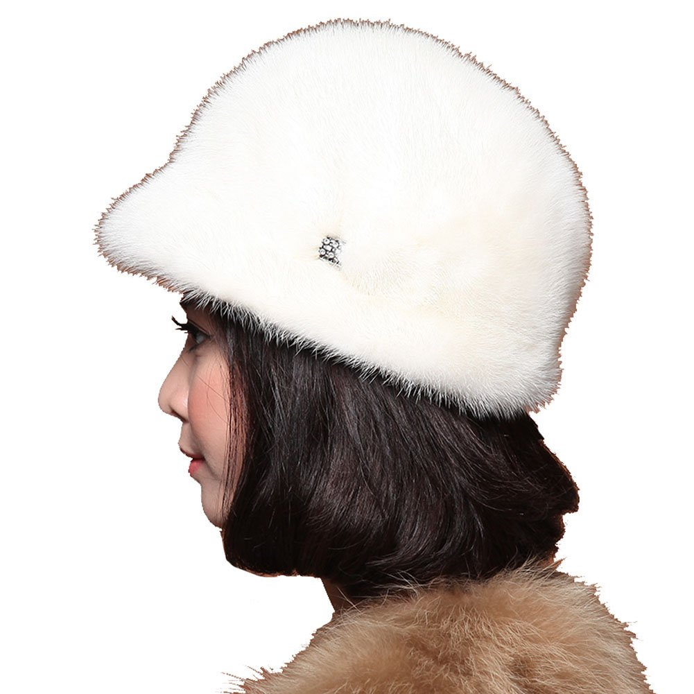 MINGXINTECH womens real mink fur round falbala peak cap winter warm flowers hat by MINGXINTECH