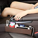 Nekrash Car Seat Side Box with 2 USB Chargers, Seat Side Catcher Multi-Compartment, Car Storage Organizer for Mobile Phones, Keys, Cards, Wallets, Coins Black (Brown)