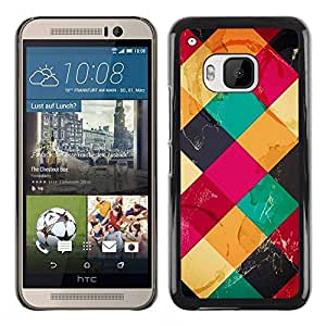 Slim Design Hard PC/Aluminum Shell Case Cover for HTC One M9 Colorful Cubes Neon / JUSTGO PHONE PROTECTOR