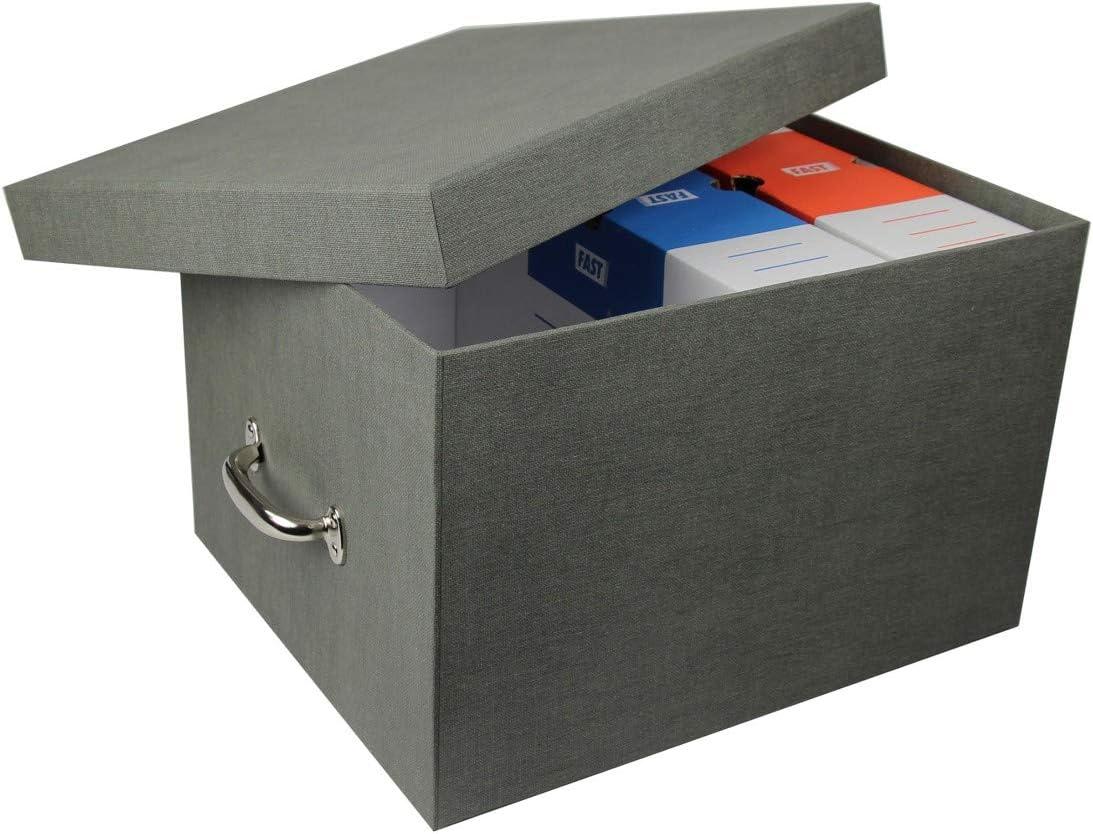 Caja de índice para archivos (cartón gris con asa Metal: Amazon.es ...