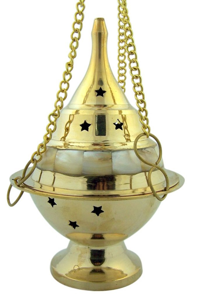 Brass and Mother of Pearl Enamel Hanging Incense Burner with Star Design, 16cm B00W46K57G