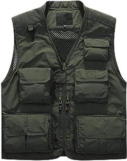 HX fashion Giacca da Lavoro per Reporter da Pesca con Tasca Taglie Comode Multitasche da Uomo Quick Dry Mesh da Uomo Abiti