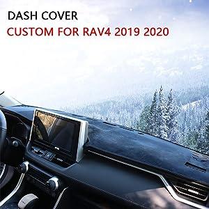 Cqlights Dashboard Cover Rav4 Custom Fit Dash Mat Carpet Anti-Slip Sunshield Protector for RAV4 2019 2020 Black