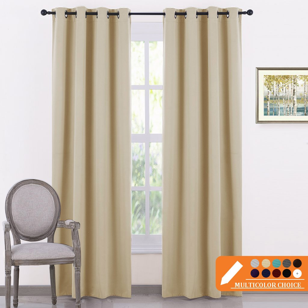 PONY DANCE Beige Curtains Panels - Window Treatments Room Darkening Curtain Drapes Thermal Insulated Drapery with Grommets for Living Room for Home Decoration, W 52'' x L 84'', Beige, 2 Pcs