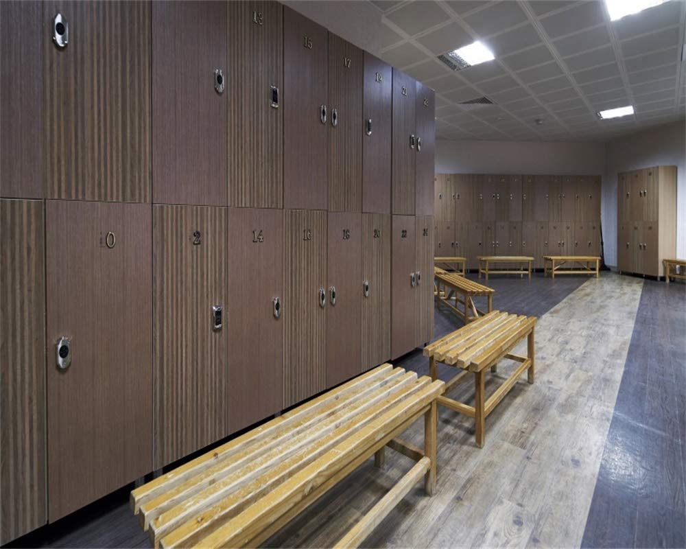 YEELE Gym Locker Room Backdrop 10x8ft Luxury and Clean Dressing Room with Wooden Bench Photography Background Interior Baseball Club Teammate Gathering Back to School Photo Studio Props Wallpaper