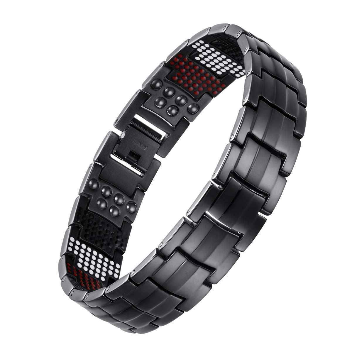 USWEL Titanium Bracelet for Men Black PVD Coating 591pcs Minerals Magnetic Bracelet for Men Pain Relieving Bracelet for Arthritis and Carpal Tunnel with Link Removal Tool and Gift Box Packed