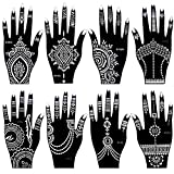 8 Pieces India Henna Tattoo Stencil Set for Women Girls Hand Finger Body Paint Temporary Tattoos Templates 20 X 10.5cm