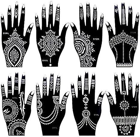 Juego de 8 plantillas de tatuaje de la India Henna para mujeres y ...