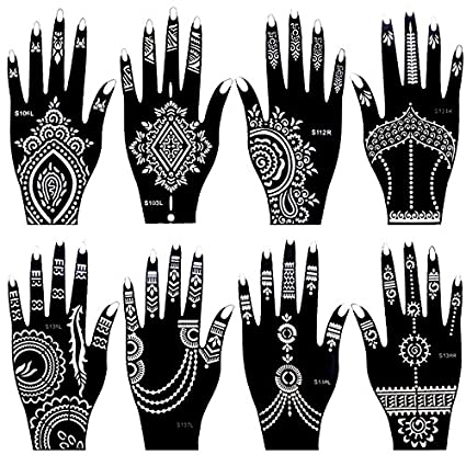 8faa7c4870789 Amazon.com: 8 Pieces India Henna Tattoo Stencil Set for Women Girls Hand  Finger Body Paint Temporary Tattoo Templates 20 X 10.5cm: Office Products