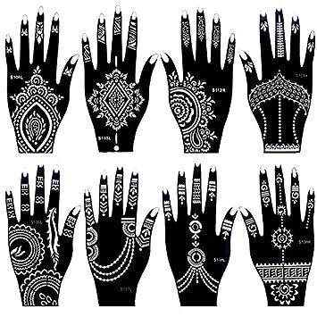 8 Pieces India Henna Tattoo Stencil Set for Women Girls Hand Finger ...