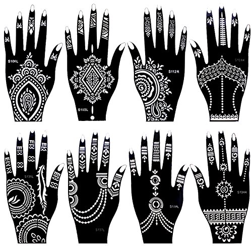 8 Pieces India Henna Tattoo Stencil Set for Women Girls Hand Finger Body Paint Temporary Tattoo Templates 20 X 10.5cm