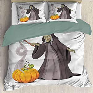 HELLOLEON Witch Pure Bedding Hotel Luxury Bed Linen Spooky Woman Casts a Spell Polyester - Soft and Breathable (Full)