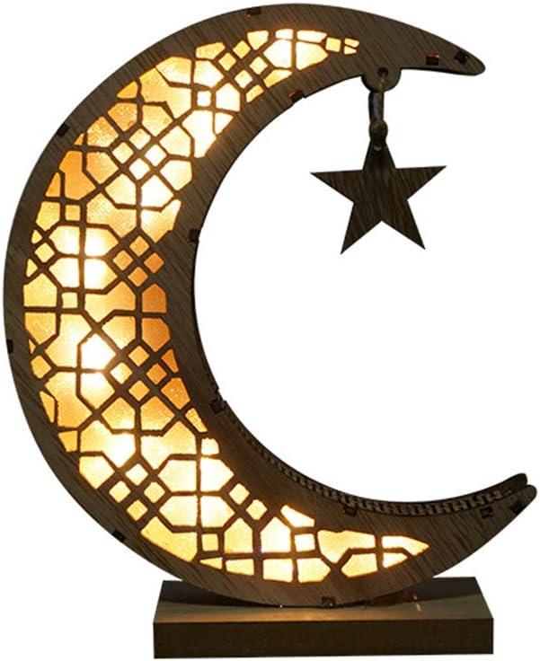 chefensty Ramadan Eid Mubarak Wooden Moon Ornaments Arab Muslim Light Crafts Decorations