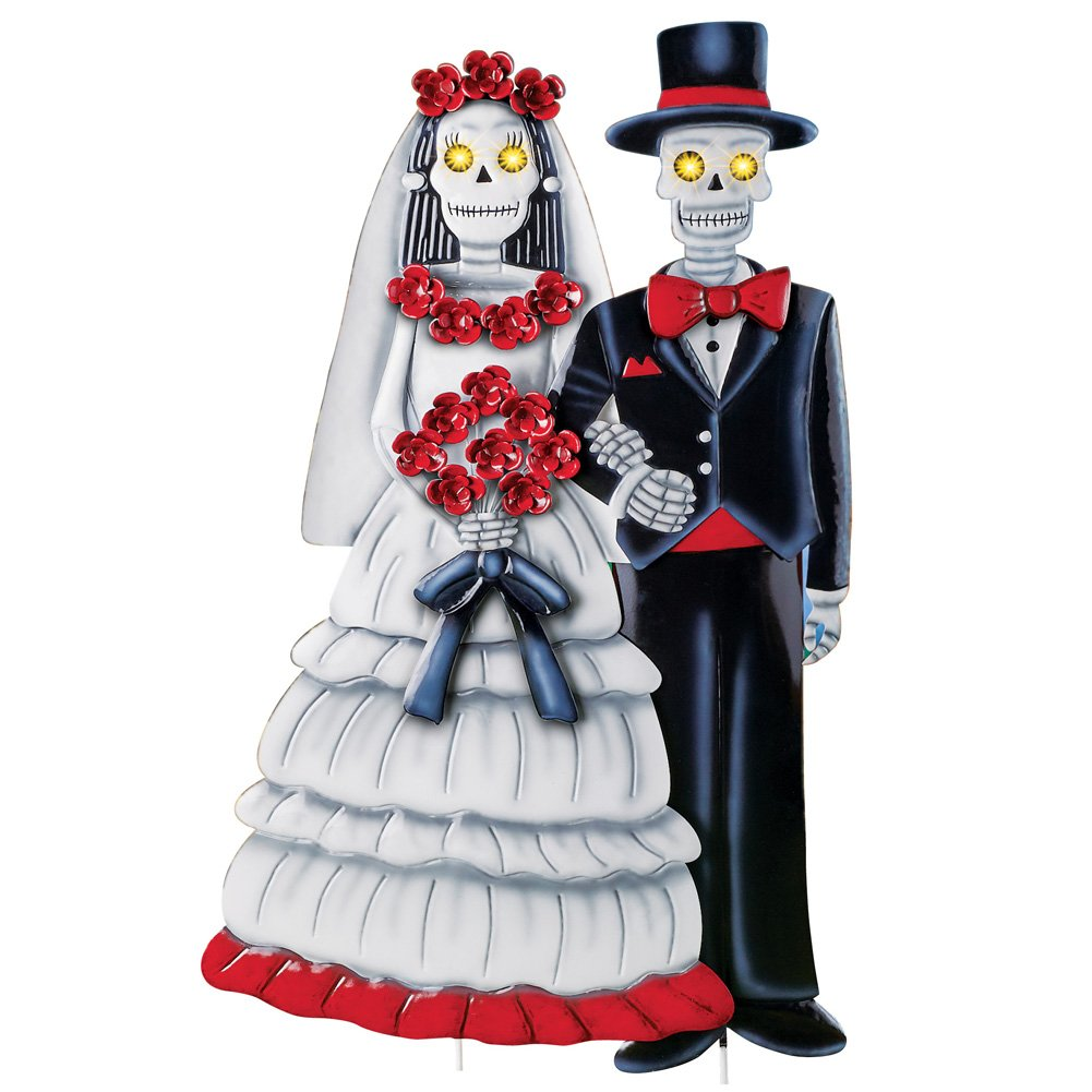 Collections Etc Skeleton Bride and Groom Lighted Garden Stake, Outdor Halloween Décor with Hand Painted Details