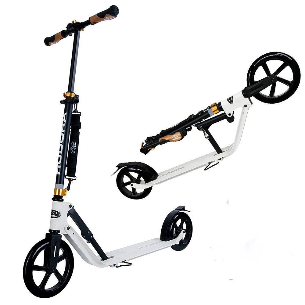 Hudora 230 Big Wheel Kick Scooter for Teen Adult - 230MM & 205MM Wheel, 17.7-Inch x 5.5-Inch Deck, Fold Down, Height Adjustable, Rear Friction Brake City Scooter - Black/White