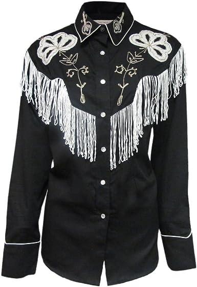 Rockmount - Camisa Vaquera con Flecos Negros para Hombre Negro Negro (XXL: Amazon.es: Ropa y accesorios