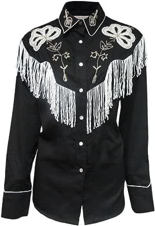 Rockmount - Camisa Vaquera con Flecos Negros para Hombre