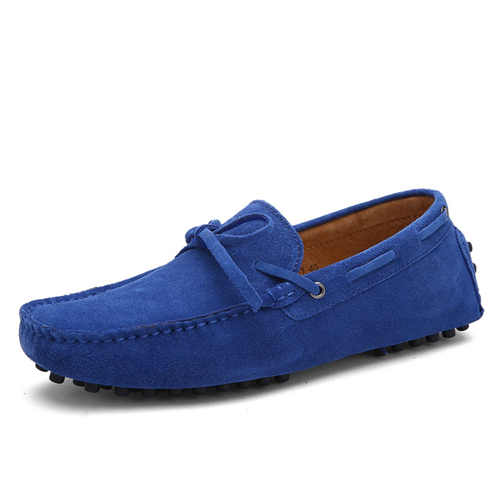 Sherry Love Men's Penny Loafers Driving Suede Shoes Slip On Flats Boat Shoes-Royal Blue 40EUR