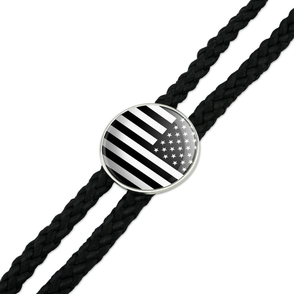 Subdued Reverse American USA Flag Black White Military Tactical Western Southwest Cowboy Necktie Bow Bolo Tie