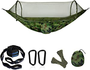 "Camping Hammock Portable Hammock with Mosquito Net Double Hammock with Parachute Fabric 115"" 55"" Hammock Net for 2 Persons Tree Tent Outdoors (Camouflage)"
