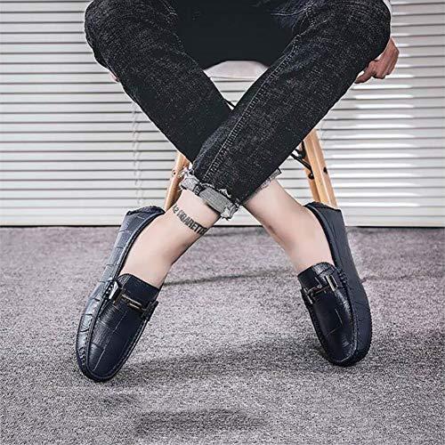 Moda los Holgazanes y Zapatos de de Ocasionales los de la Caminar la de los de Zapatos Cuero Zapatos Hombres Zapatos YaXuan de del Barco Mocasines Comodidad Azul resbalones para RqvXwW