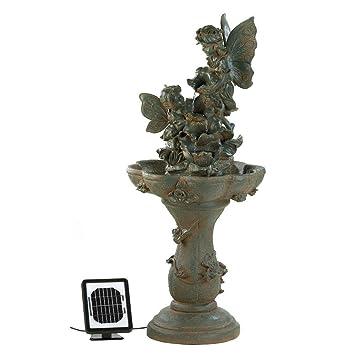 Outdoor Water Fountain, Antique Decorative Garden Fairy Solar Water  Fountains