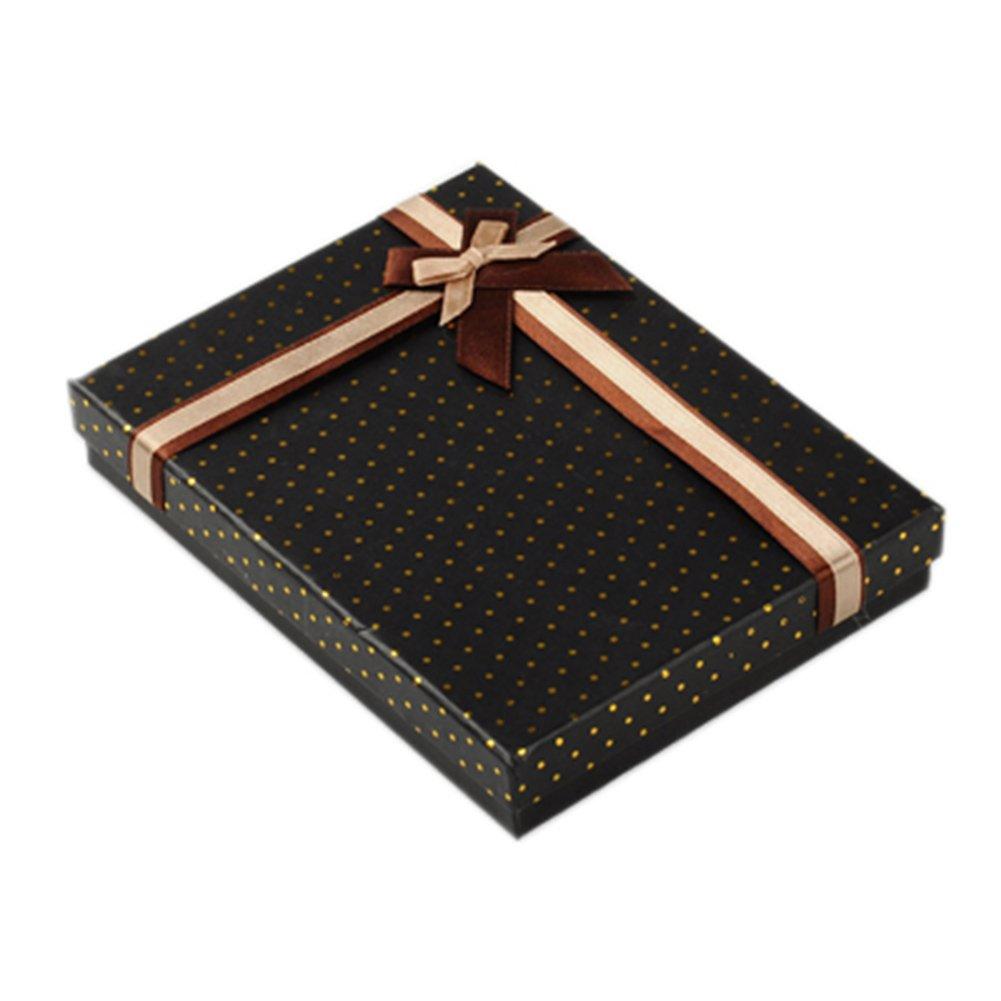 NBEADS 2PCS Gioielli scatole di Cartone, con Nastro in Raso e Velluto Esterno, Rettangolare, Nero, 16 x 12 x 2.5 cm 16x 12x 2.5cm