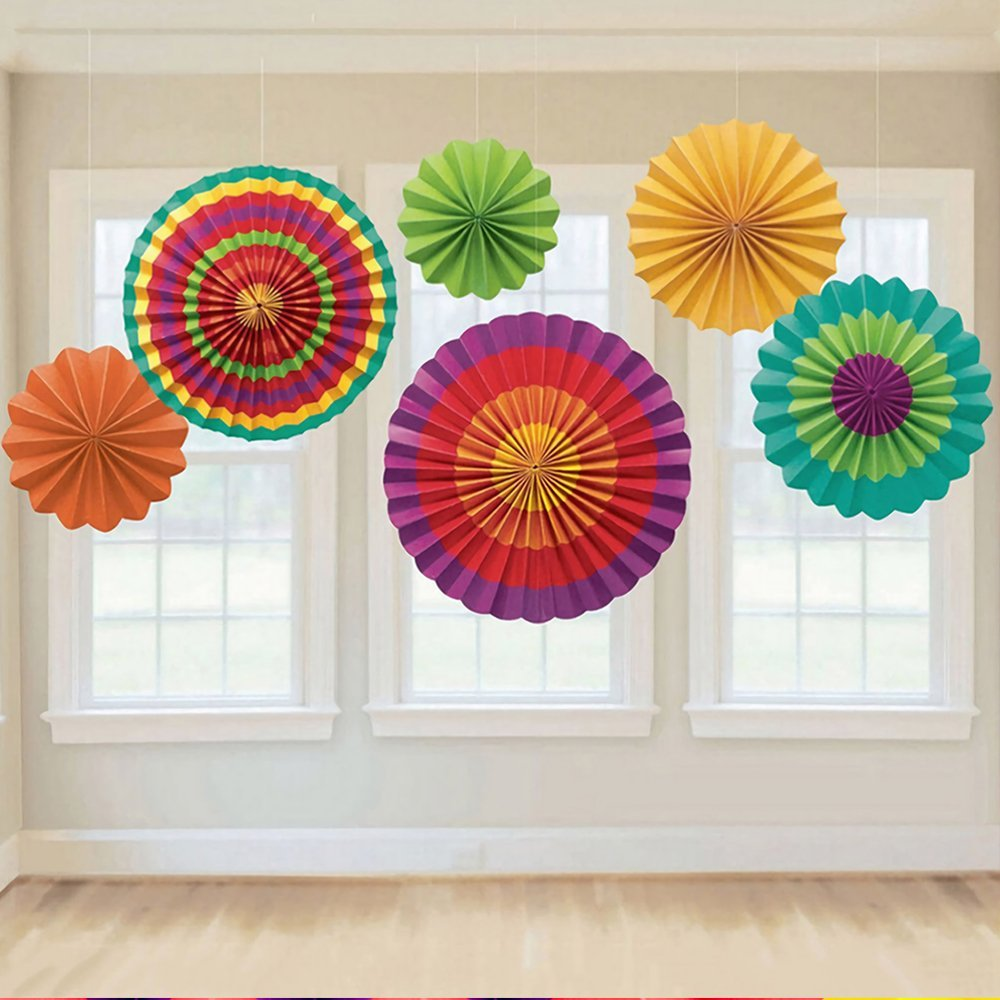 Paper Fan Flowers Decoration Flower Hanging Paper Fans Banner Wall Hanging Decoration for Baby Shower Birthday Wedding Party (6pcs) Ronoa