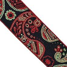"JR 677 Jacquard Woven Paisley Floral red Grey Black Ribbon Trim 1-9/16"" (40mm) 5 Yards DIY for Sewing Crafting Home Decor, Bag Strap, Belts"