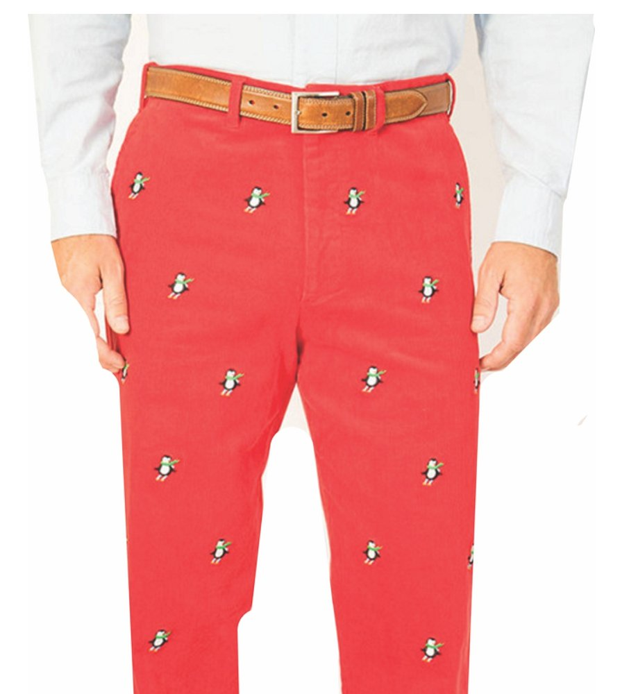 THE FINE SWINE and Castaway Clothing Castaway Embroidered Holiday Pants 38 Crimson Red With Downhill Skiing Penguin